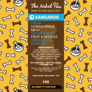 Kangaroo Recipe 1kg | The Naked Paw | Raw Feeding