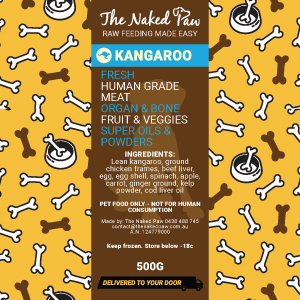 Kangaroo Recipe 500g | The Naked Paw | Raw Feeding